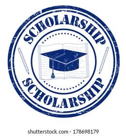Scholarship grunge rubber stamp on white, vector illustration