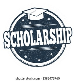 Scholarship sign or stamp on white background, vector illustration
