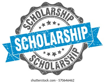 scholarship. stamp. sticker. seal. round grunge vintage ribbon scholarship sign