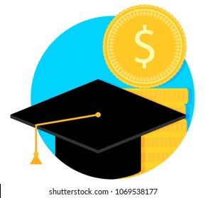 Scholarship and study grant. University finance degree, study scholarship grant, vector illustration