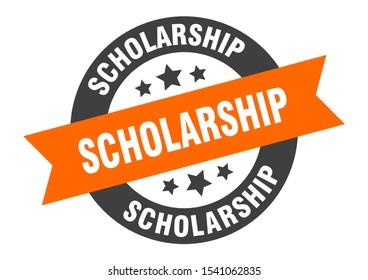 scholarship tag. scholarship orange-black round ribbon sticker sign
