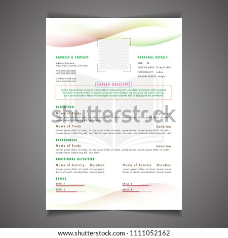 Scholarships CV Resume Template Design Letterhead Stock Vektorgrafik