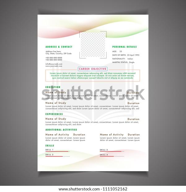 Scholarships Cv Resume Template Design Letterhead Stock ...