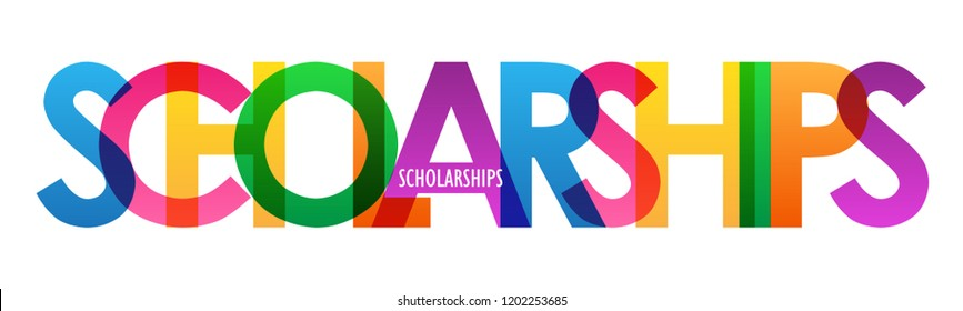 SCHOLARSHIPS rainbow letters banner
