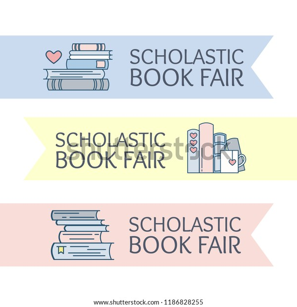 Scholastic book fair logo. Emblem for school library event: festival, market, book lovers club. Stack of folio with heart symbol and a cup of coffee or tea. Vector illustration, flat line style.