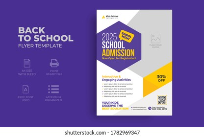School admission flyer template. Kids back to school education poster, brochure cover layout