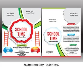 School Admission Flyer Template vector illustration