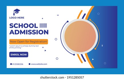 School admission horizontal web banner template .eps