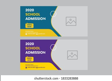 School admission social media post vector design template. Admission Open Flyer Design, abstract education Center brochure, Tuition vector landing page template, school web banner