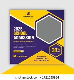 School admission social media post and kids school admission promotion banner