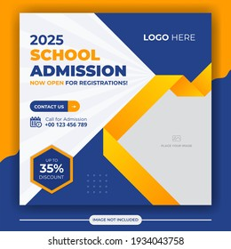 School admission social media post banner template. Back to School Square flyer design Template. Editable Post Template Social Media Banners