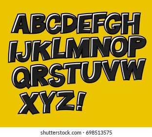 School alphabet. Black letters on yellow background. Comic text. Comics book style. Funny english letters. Cute vector English alphabet, funny typeface, ABC, uppercase letters