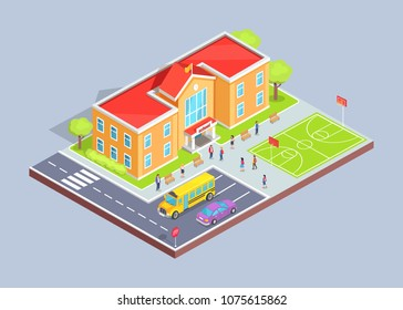 School area isolated 3d vector illustration on grey background. Cartoon style teenage students, two-storey building, sports field and parking lot