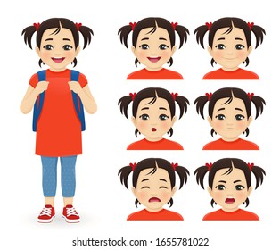 School asian girl with backpack emotions set isolated vector illustration