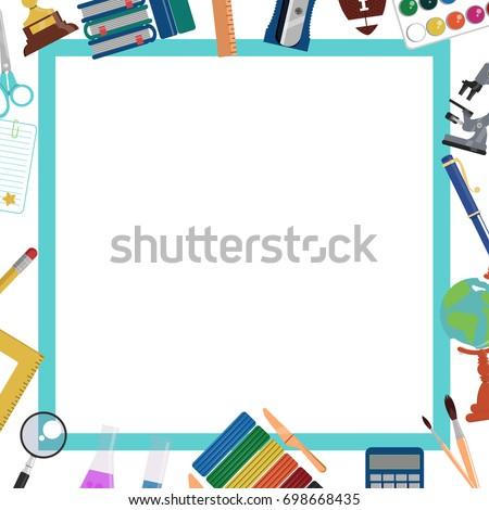 school background frame template education design stock vector