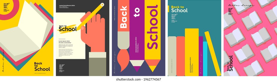 School backgrounds. Book, stationery, books, hand and pencil. Set of flat, vector illustrations. Back to School. Elements and objects on school themes, simple background for poster, cover, flyer.