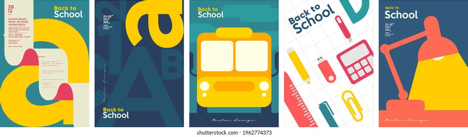 School backgrounds. School bus, desk lamp, letters, stationery. Set of flat, vector illustrations. Back to School. Elements and objects on school themes, simple background for poster, cover, flyer.