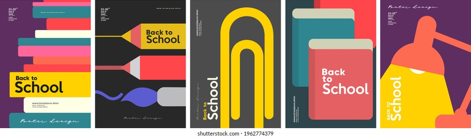 School backgrounds. A stack of books, stationery, a desk lamp, a paper clip. Set of flat, vector illustrations. Back to School. Elements and objects on school themes, simple background for poster.