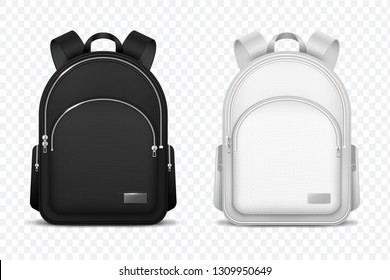 School backpack. Black and white rucksack. Front view travel bag. 3d vector mockup isolated