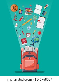 School backpack with books, paint, globe, ball, apple, calculator, pen, pencil, microscope ruler alarm clock. Education and study learning concept back to school. Vector illustration in flat style