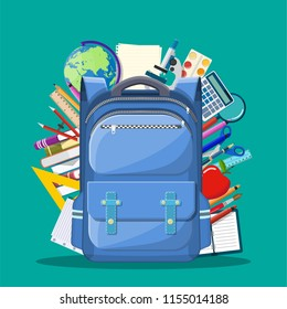 School backpack with books, paint, globe, ball, apple, calculator, pen, pencil, microscope ruler. Education and study learning concept back to school. Vector illustration in flat style