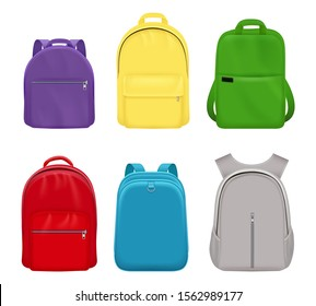 School backpack. College realistic students handy items luggage travel vector collection front side
