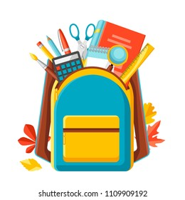 School backpack with education items. Illustration of colorful supplies and stationery.