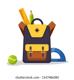 School backpack icon. Kids rucksack, knapsack isolated on white background. Bag with supplies, ruler, pencil, paper. Pupil satchel. Children education, back to school concept. Vector flat illustration