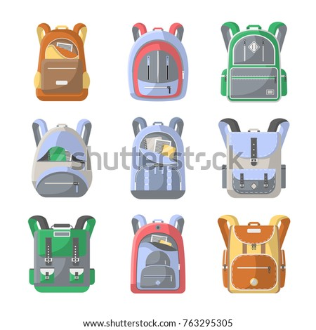 School backpack icon set. Camping and travel backpack vector illustration  isolated on white background. Tourist back pack acc39cb4666b0