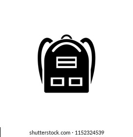 School Backpack icon. Simple Flat Vector Illustration sign. Black symbol on white background