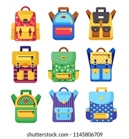 School backpack set. Kids rucksack, knapsack isolated on white background. Bag with supplies, ruler, pencil, paper. Pupil satchel. Children education, back to school concept. Vector flat illustration