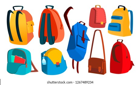 School Backpack Set Vector. Education Object. Kids Equipment. Colorful Schoolbag. Isolated Cartoon Illustration