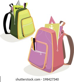 School backpacks for boys and girls with tools and books