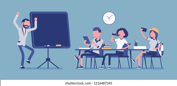 School bad behaviour. Disruptive classroom situation, classmates causing trouble for male teacher, misbehaves at lesson, negative atmosphere. Vector illustration with faceless characters