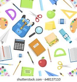 School bag backpack full of supplies children stationary zipper educational sack vector illustration seamless pattern background