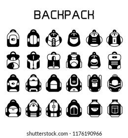 school bag, backpack icons set