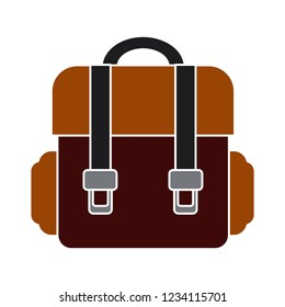 school bag isolated vector - tourism travel backpack sign symbol . briefcase illustration sign