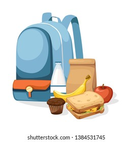 School bag and Lunch paper bag with juice, apple and sandwich. Recycle brown paper bag. Flat vector illustration isolated on white background.