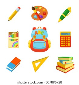 School bag and stuff. Children's backpack and stationery. School year beginning. Education design elements.