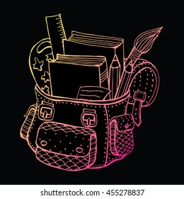 School bag. School supplies. Back to school. Line art. Black and white drawing by hand. Doodle. Tattoo. Zentangle.