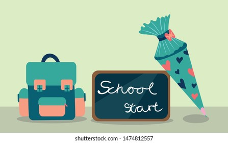 School bag vector illustration with blackboard saying: school start and turquoise school covert decorated with points on olive green background with isolated  space