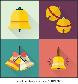School bell icons set. Flat design with long shadow. Vector illustration