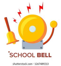 School Bell, Ring Vector. Ringing Classic Electric Bell And Hand Gold Metal Ring Isolated Cartoon Illustration