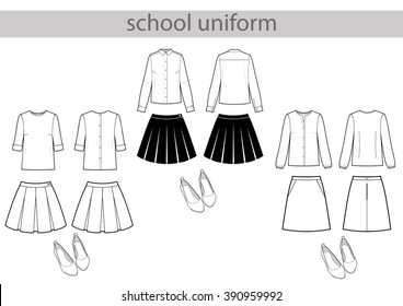 school black and white uniform set