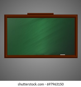 School blackboard with empty area. Vector illustration.
