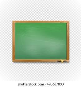 School blackboard on transparent background. Back to school concept