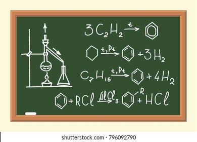 The School Board with Chemical Formulas.. Calculating of Benzene Derivatives. The Poster in a Flat Style. Vector Illustration