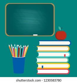 School board, colored pencils and books. Vector illustration.