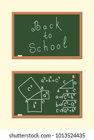 The School Board with with Mathematica Formulas.. Calculating of the Pythagorean Theorem. Back to School Poster in a Flat Style. Vector Illustration