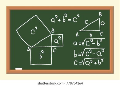 The School Board with Mathematical Formulas.. Calculations of the Pythagorean Theorem. The Poster in a Flat Style. Vector Illustration